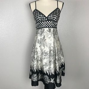 FOREVER Black & Ivory Polka Dot and Floral Dress M
